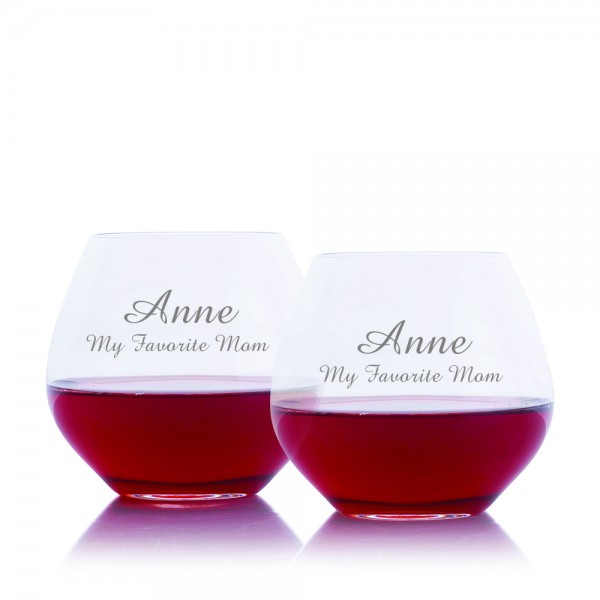 Mother's Day Amoroso Stemless Red Wine Glass 2pc. Set by Crystalize