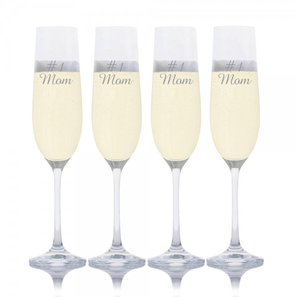 Mother's Day Champagne Glass 4pc. Set by Crystalize