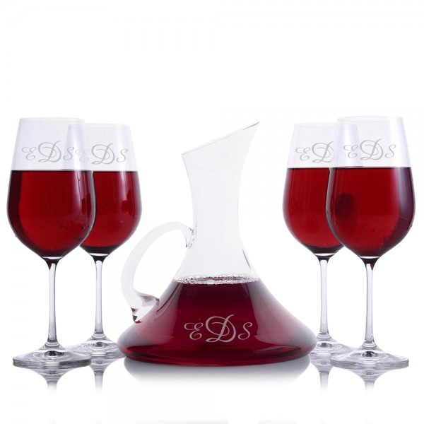 Coltrane Wine Decanter 5 pc Set by Crystalize