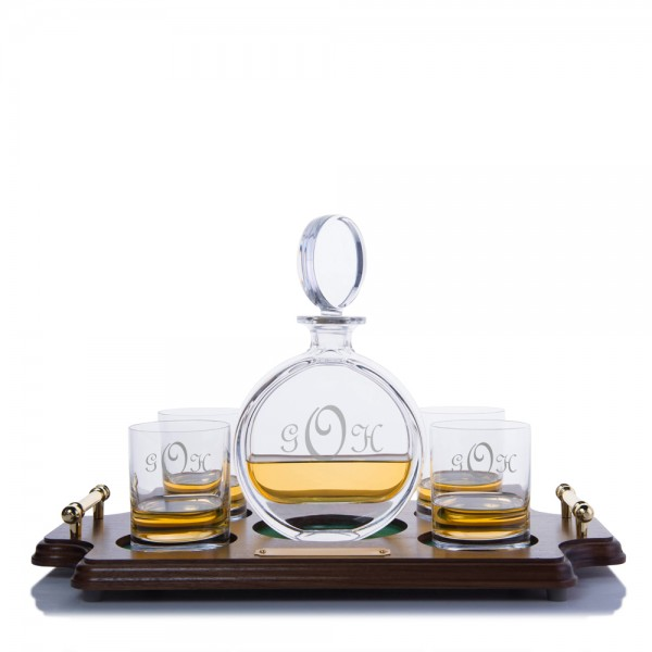 Cooper Liquor Decanter Wood Tray Set By Crystalize