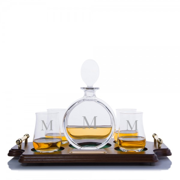 Cooper Liquor Decanter Scotch Wood Tray Set By Crystalize