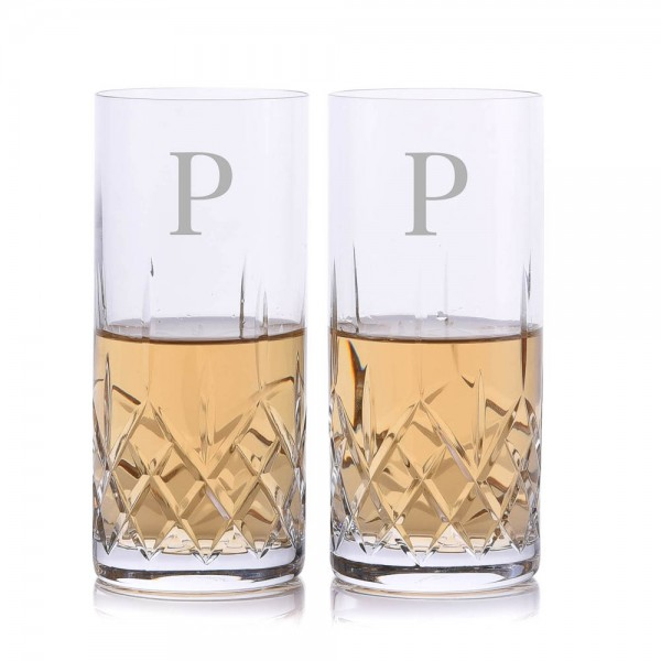 Crystalize Cut Crystal Highball Glass 2 Piece Set
