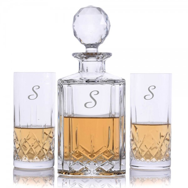 Cut Crystal 3 Piece Highball Whiskey Decanter Set