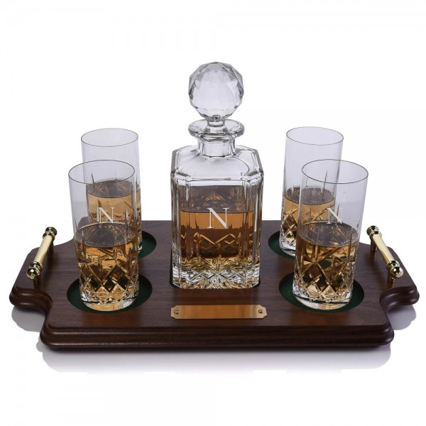 Cut Crystal Whiskey Decanter & Highballs Tray Set by Crystalize