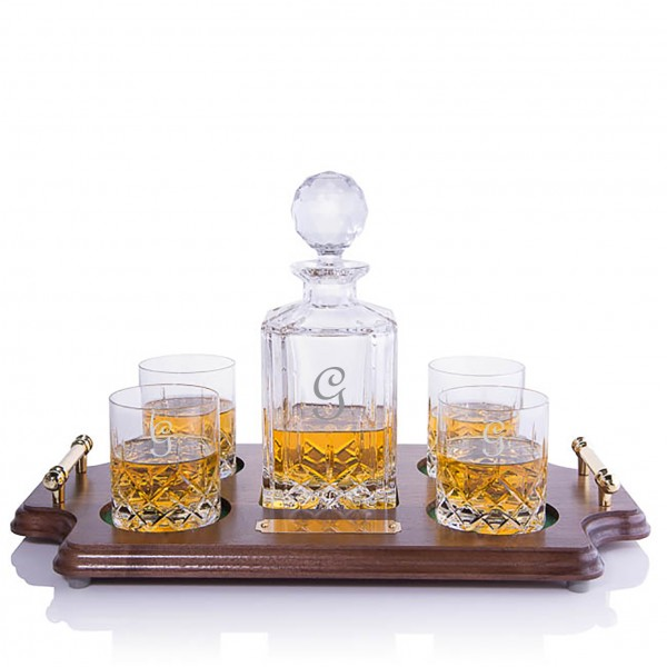 Cut Crystal Whiskey Decanter Wood Tray Set by Crystalize