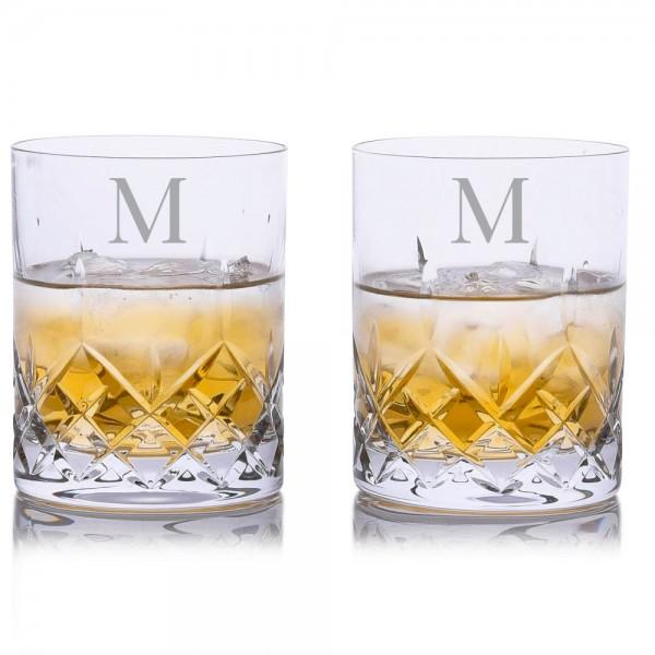 Crystalize Cut Crystal Double Old Fashion (DOF) Whiskey Tumbler 2pc Set