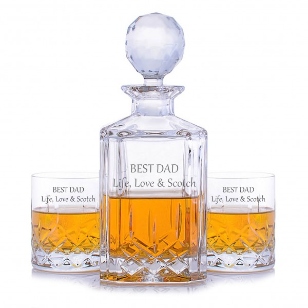 Crystalize Engraved Cut Crystal Decanter & 2 Cut Crystal Tumblers-Father's Day