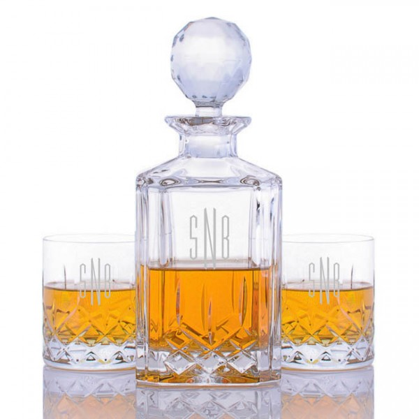 Crystalize Engraved Cut Crystal Decanter & 2 Cut Crystal Tumblers