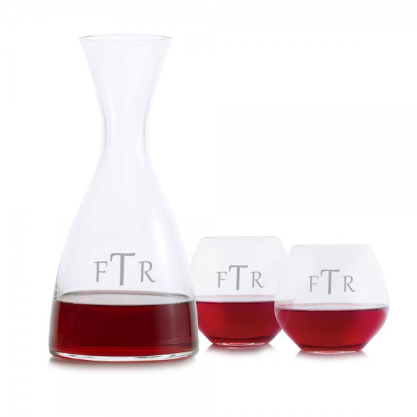 Engraved Eden Wine Decanter 3pc Stemless Set
