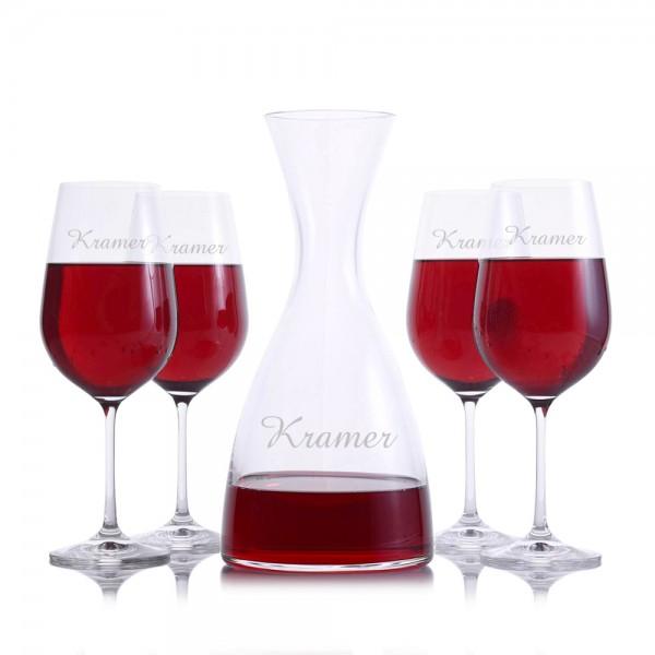 Eden Wine Decanter 5pc. Stemmed Set by Crystalize