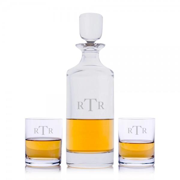 Hancock Liquor Decanter 3pc. Rocks Set By Crystalize