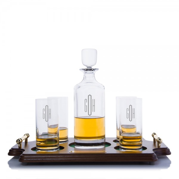 Hancock Liquor Decanter Highball Wood Tray Set By Crystalize
