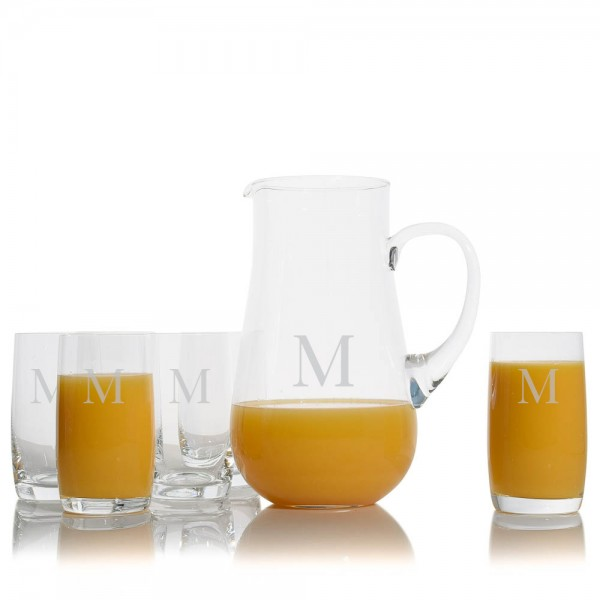 Water and Juice Pitcher with 6 Glasses by Crystalize