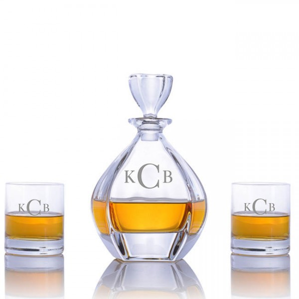 Crystalize Engraved Laguna Decanter with 2 Double Old Fashioned Tumblers