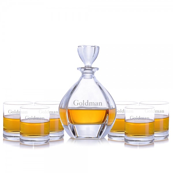 Crystalize Engraved Laguna Decanter & 6 Double Old Fashioned Tumblers