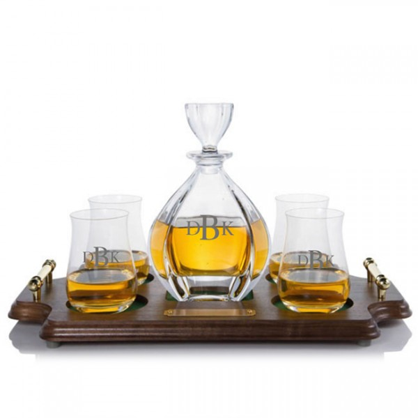 Crystal Laguna Decanter & Scotch Glasses Tray Set by Crystalize