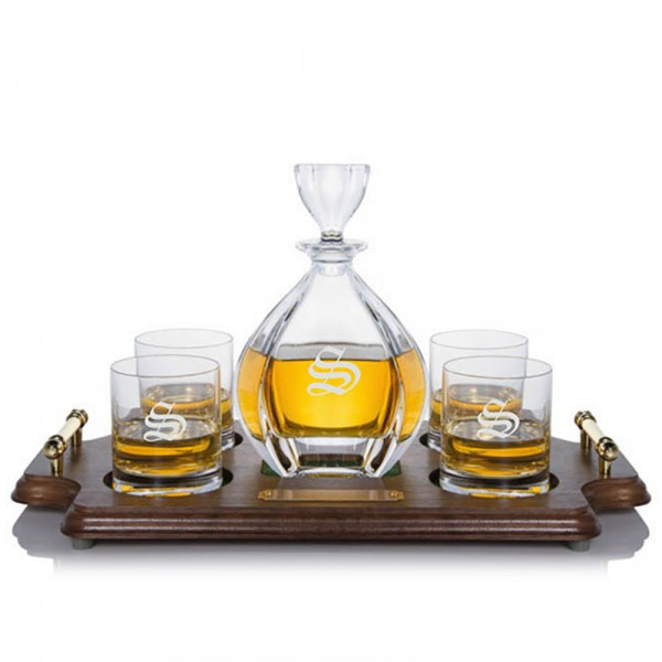 Personalized Laguna Decanter Rocks Wood Tray Set