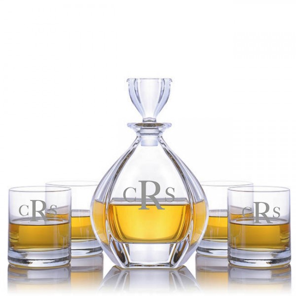 Crystalize Engraved Laguna Decanter & 4 Double Old Fashioned Tumblers