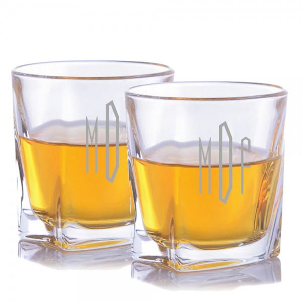 Custom Crystal Lincoln Whiskey Rocks Glass 2 pc. Set (Barware Glasses)
