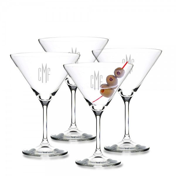 Monogrammed Crystal Martini Glass 4pc. Set by Crystalize
