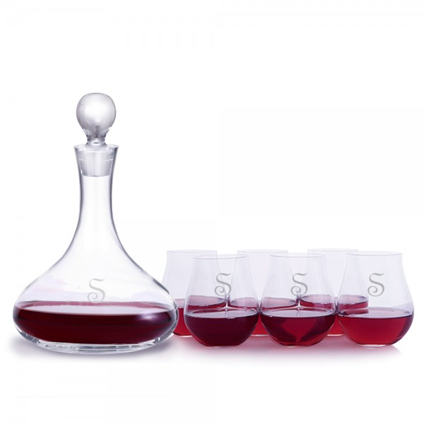Engraved Mercury Wine Decanter 7pc. Stemless Set by Crystalize