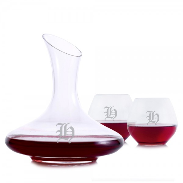 Engraved Mozart Wine Decanter 3pc Stemless Set
