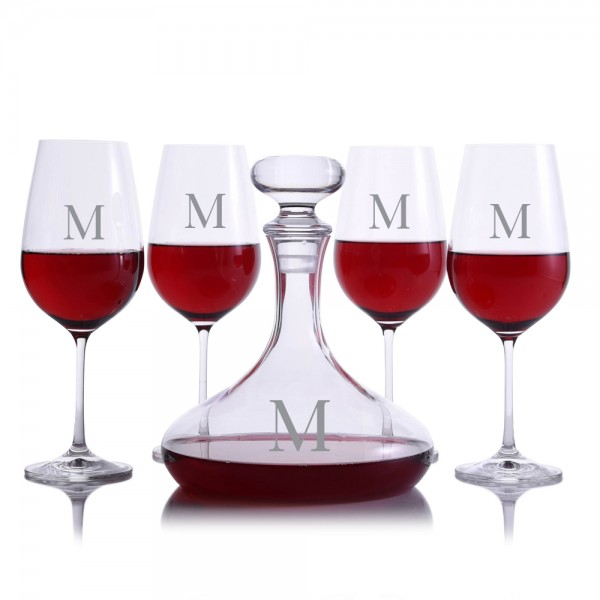 Crystalize Nautical Decanter & 4 Red Wine Glasses
