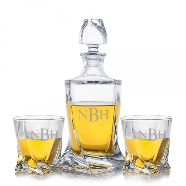 Crystalize Engraved Quadro Decanter & 2 Double Old Fashioned Tumblers