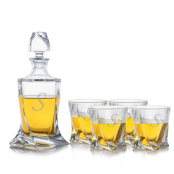Crystalize Engraved Quadro Decanter & 4 Double Old Fashioned Tumblers