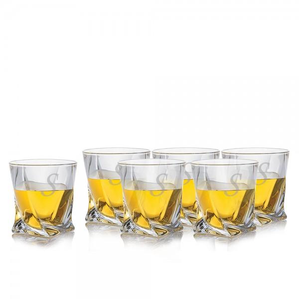 Engraved Quadro Whiskey Rocks Glass 6pc Set