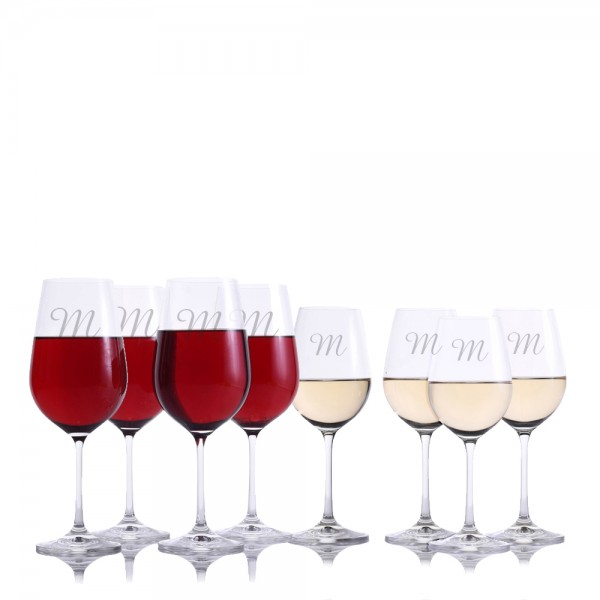 Personalized Crystalize Crystal Red & White Wine Glass 8pc. Set