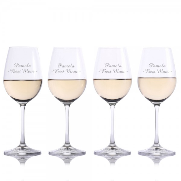Mother's day Crystalize White Wine Glasses