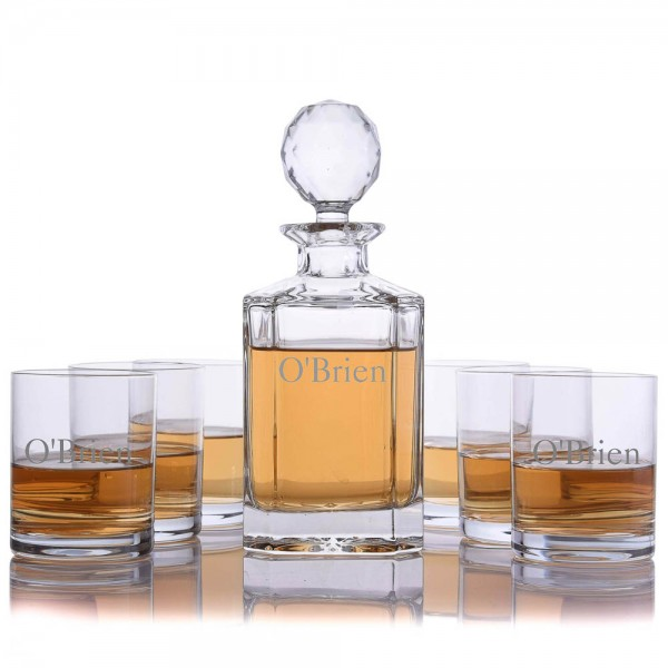 Crystal Whiskey Decanter 7 Piece Set