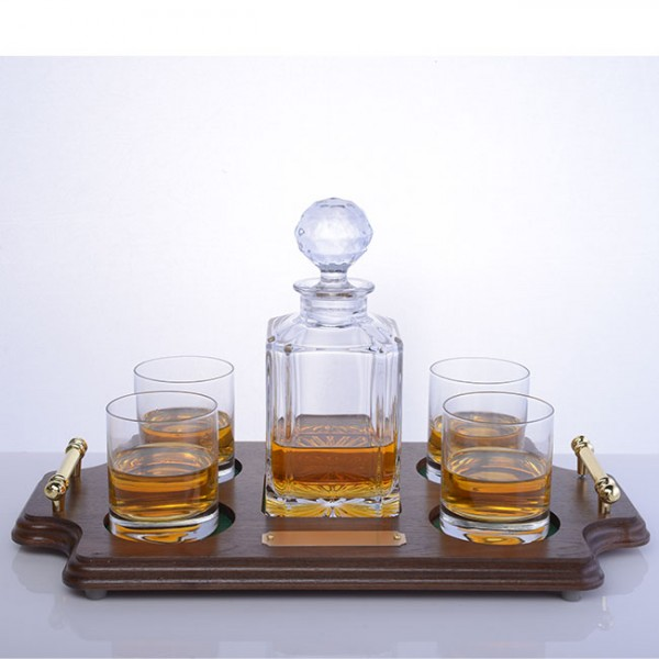 Bohemia Crystal Whiskey Decanter - Wood Tray Set