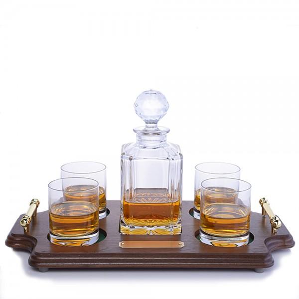 Bohemia Crystal Whiskey Decanter - Wood Tray Set