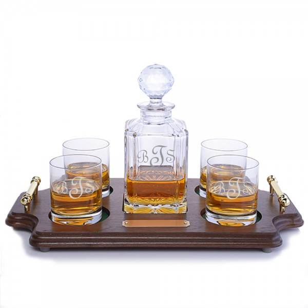 Crystalize Crystal Whiskey Decanter - Wood Tray Set