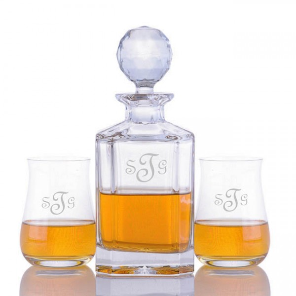 Crystalize Engraved Decanter & 2 Single Malt Scotch Glasses