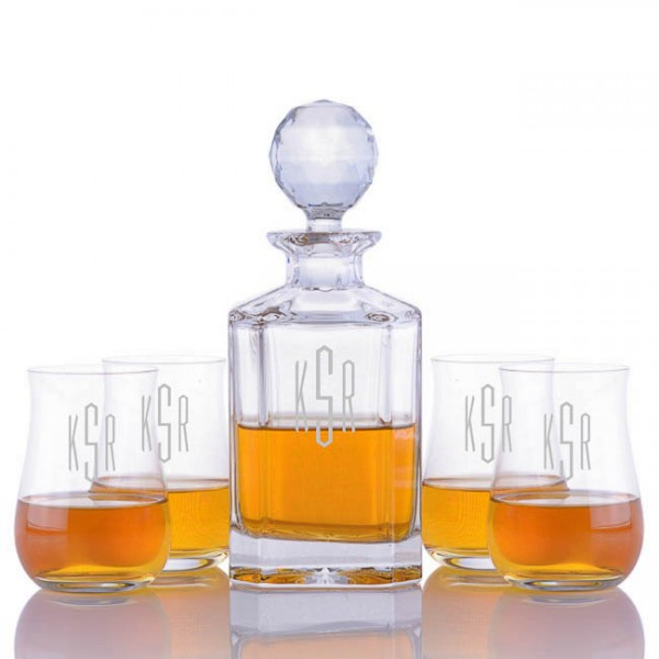Crystalize Engraved Decanter & 4 Single Malt Scotch Glasses