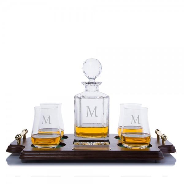 Crystal Liquor Decanter Scotch Wood Tray Set