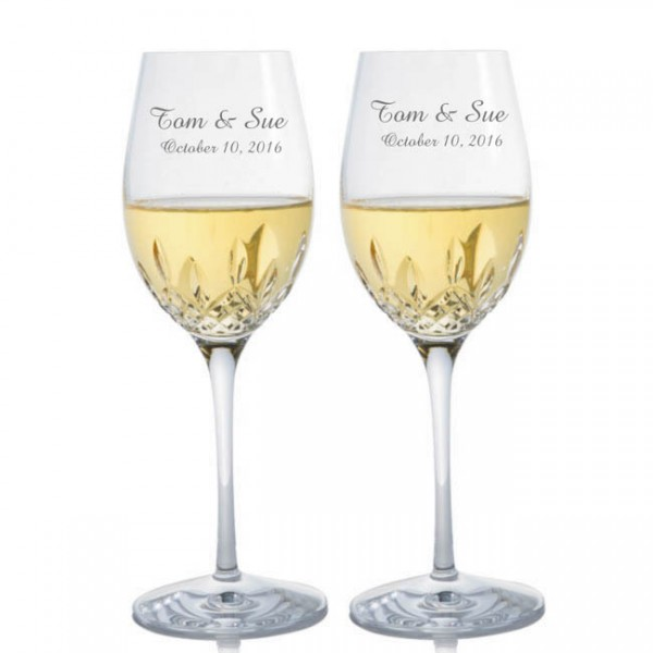 Engraved Waterford Lismore Essence White Wine Glass