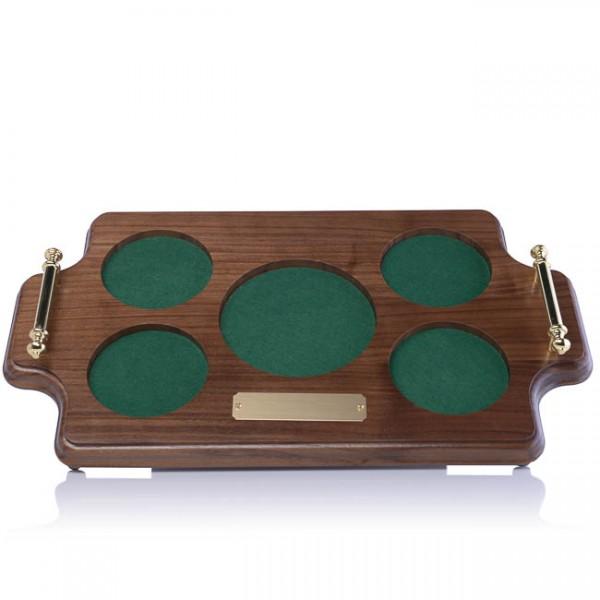 Custom Round Wood Tray with Handles