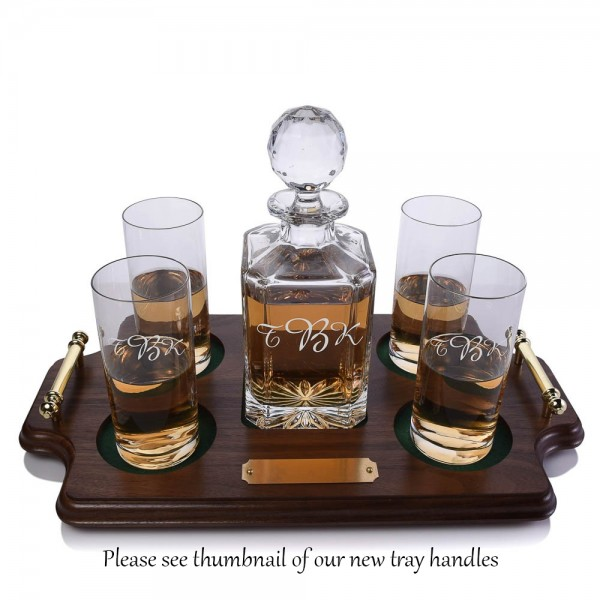 Crystal Whiskey Decanter Highball Tray Set by Crystalize