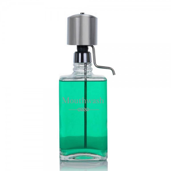 The Perfect Measure Mouthwash Decanter with Chrome Pump Dispenser