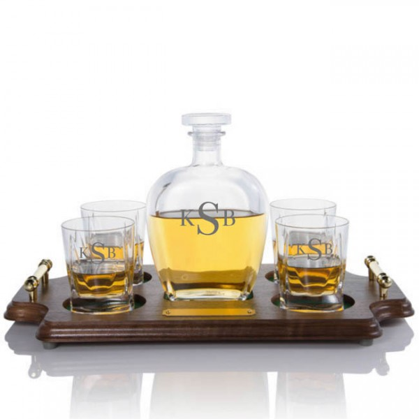 Engraved Botticelli Liquor Decanter Wood Tray Set