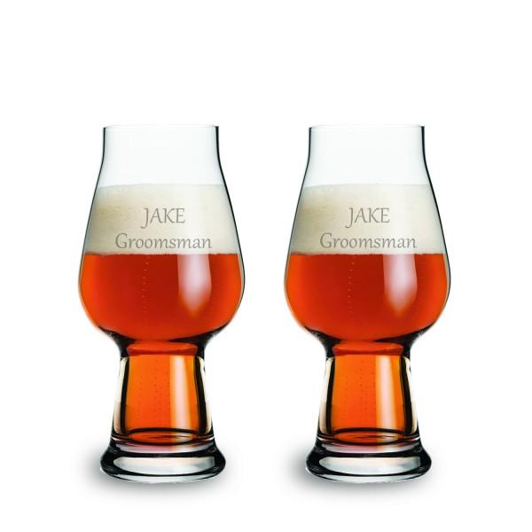Personalized Luigi Bormioli White IPA Beer Glass 2 pc Gift Set