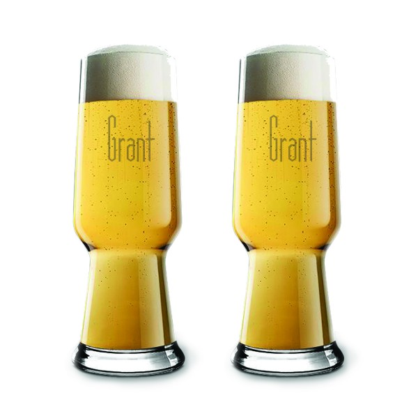 Engraved Luigi Bormioli Pilsner Beer Glass 2 pc Gift Set