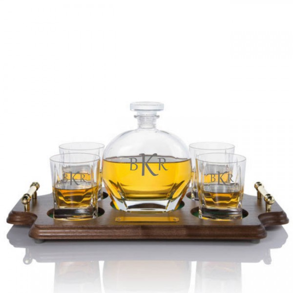 Custom Puccini Whiskey Decanter Wood Tray Set