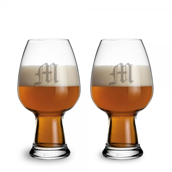 Engraved Luigi Bormioli Wheat Beer Glass 2 pc Gift Set