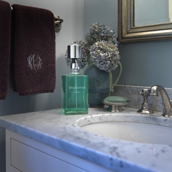 The Perfect Measure Mouthwash Decanter with Chrome Pump Dispenser Bathroom
