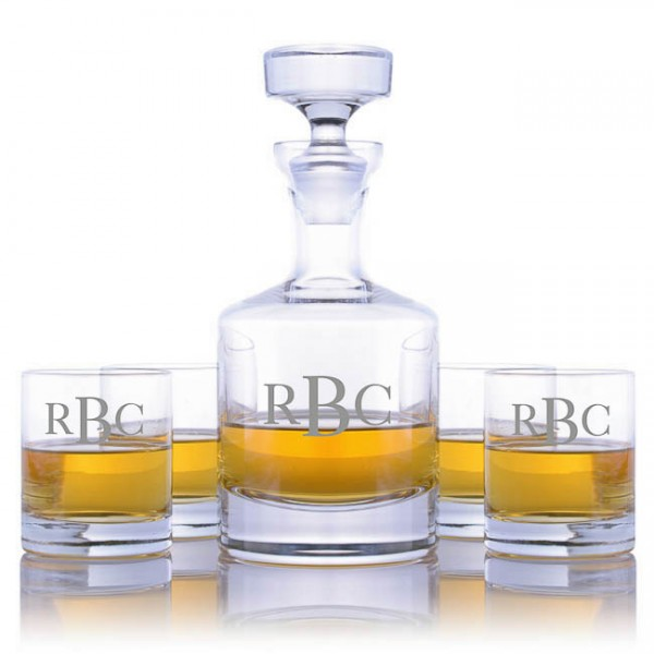 Engraved Ravenscroft Buckingham Decanter & 4 Double Old Fashioned Tumblers
